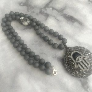 Grey Necklace with Pearl and Black marcasite